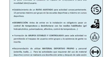 Medidas de prevención Covid-19: Cursos y Escuelas Deportivas Municipales.